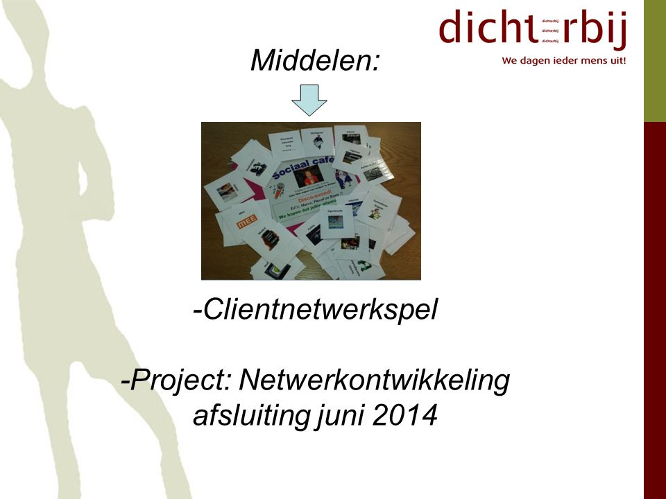 Middelen: -Clientnetwerkspel -Project: Netwerkontwikkeling afsluiting juni 2014