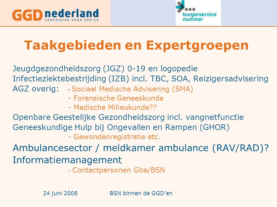 24 juni 2008BSN binnen de GGD en Taakgebieden en Expertgroepen Jeugdgezondheidszorg (JGZ) 0-19 en logopedie Infectieziektebestrijding (IZB) incl.