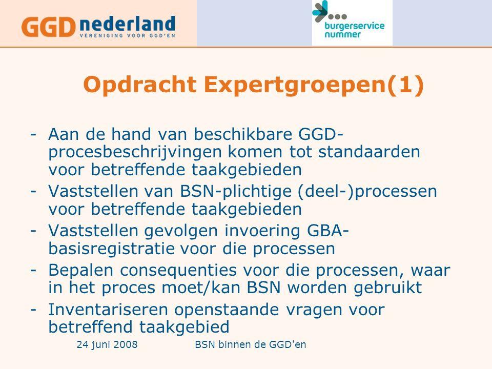 24 juni 2008BSN binnen de GGD en Opdracht Expertgroepen(1) -Aan de hand van beschikbare GGD- procesbeschrijvingen komen tot standaarden voor betreffende taakgebieden -Vaststellen van BSN-plichtige (deel-)processen voor betreffende taakgebieden -Vaststellen gevolgen invoering GBA- basisregistratie voor die processen -Bepalen consequenties voor die processen, waar in het proces moet/kan BSN worden gebruikt -Inventariseren openstaande vragen voor betreffend taakgebied