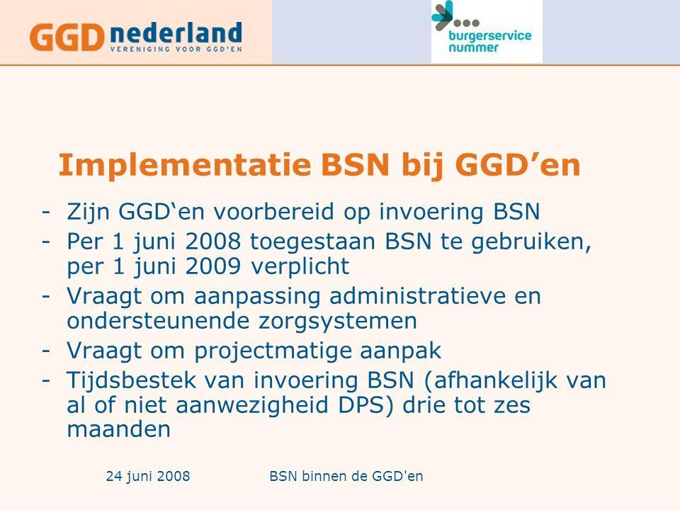 24 juni 2008BSN binnen de GGD en Implementatie BSN bij GGD'en -Zijn GGD'en voorbereid op invoering BSN -Per 1 juni 2008 toegestaan BSN te gebruiken, per 1 juni 2009 verplicht -Vraagt om aanpassing administratieve en ondersteunende zorgsystemen -Vraagt om projectmatige aanpak -Tijdsbestek van invoering BSN (afhankelijk van al of niet aanwezigheid DPS) drie tot zes maanden