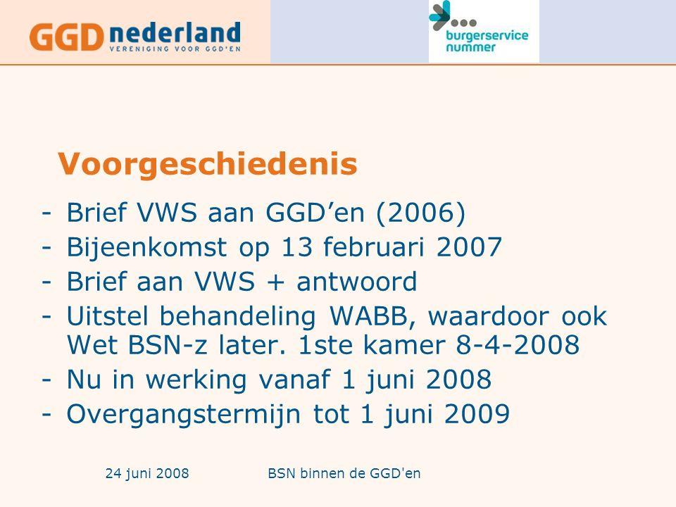 24 juni 2008BSN binnen de GGD en Voorgeschiedenis -Brief VWS aan GGD'en (2006) -Bijeenkomst op 13 februari 2007 -Brief aan VWS + antwoord -Uitstel behandeling WABB, waardoor ook Wet BSN-z later.