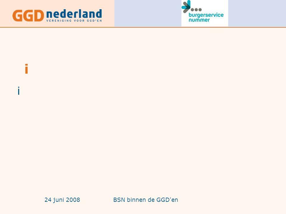 24 juni 2008BSN binnen de GGD en Welke informatie is beschikbaar ter voorbereiding van de implementatie(2) -Nieuwe versie handboek BSN in de zorg van ministerie van VWS -Nieuwe versie gebruikerseisen BSN -Nieuwe versie SBV-Z omgeving -BSN Zorg Keurmerk Testomgeving UZI -Hulpmiddelen voor zorgaanbieders: -Kieshulp UZI-middelen -E-learning module -Naslagkaart