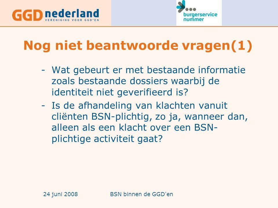 24 juni 2008BSN binnen de GGD en Nog niet beantwoorde vragen(1) -Wat gebeurt er met bestaande informatie zoals bestaande dossiers waarbij de identiteit niet geverifieerd is.