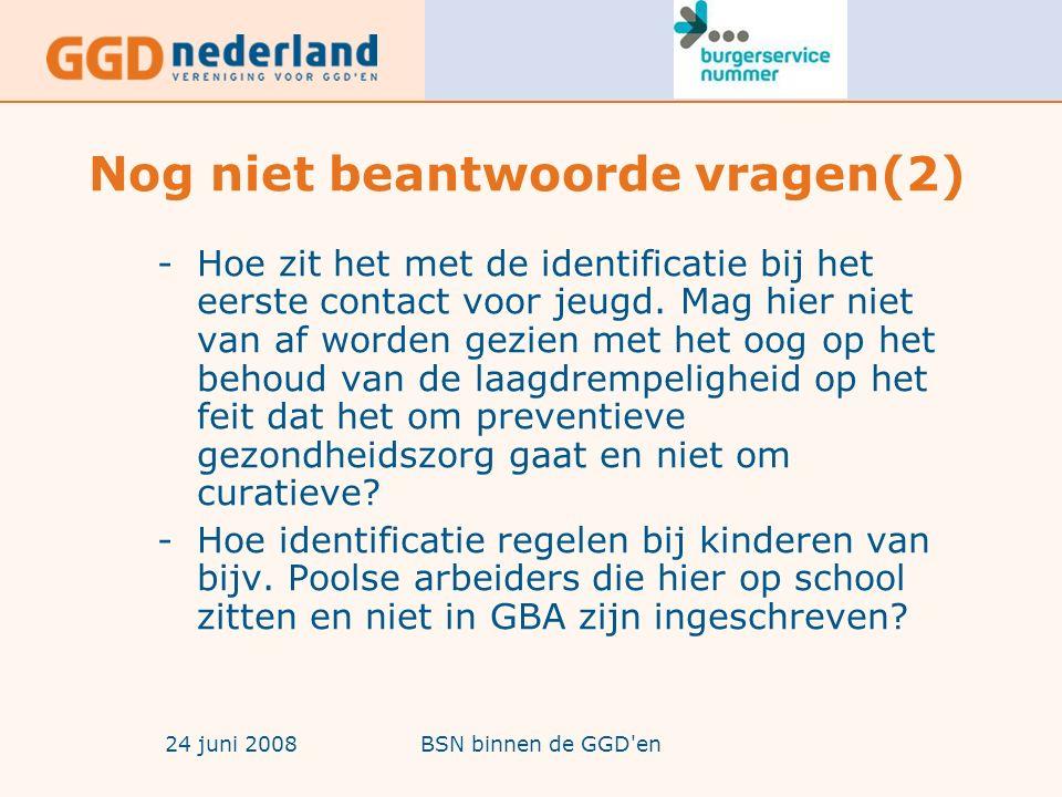 24 juni 2008BSN binnen de GGD en Nog niet beantwoorde vragen(3) -Hoe tweelingen met zelfde voorletters identificeren.