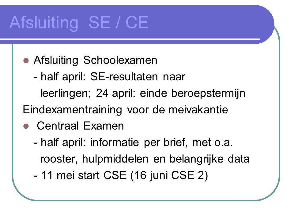 Afsluiting SE / CE Afsluiting Schoolexamen - half april: SE-resultaten naar leerlingen; 24 april: einde beroepstermijn Eindexamentraining voor de meiv