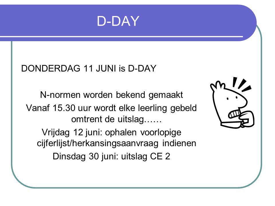 D-DAY DONDERDAG 11 JUNI is D-DAY N-normen worden bekend gemaakt Vanaf 15.30 uur wordt elke leerling gebeld omtrent de uitslag…… Vrijdag 12 juni: ophal
