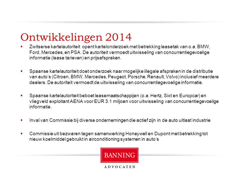 Ontwikkelingen 2014  Zwitserse kartelautoriteit opent kartelonderzoek met betrekking leasetak van o.a.