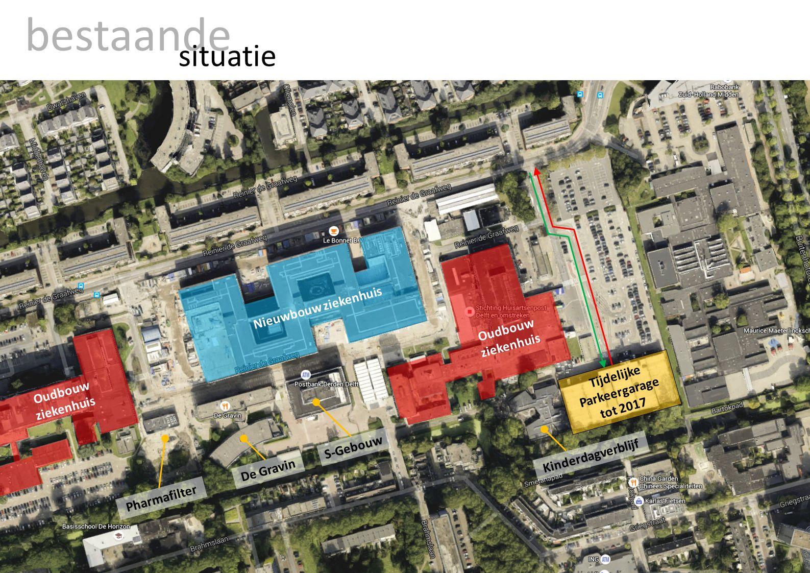 bestaande situatie Tijdelijke Parkeergarage tot 2017 Nieuwbouw ziekenhuis De Gravin Pharmafilter Kinderdagverblijf Oudbouw ziekenhuis S-Gebouw