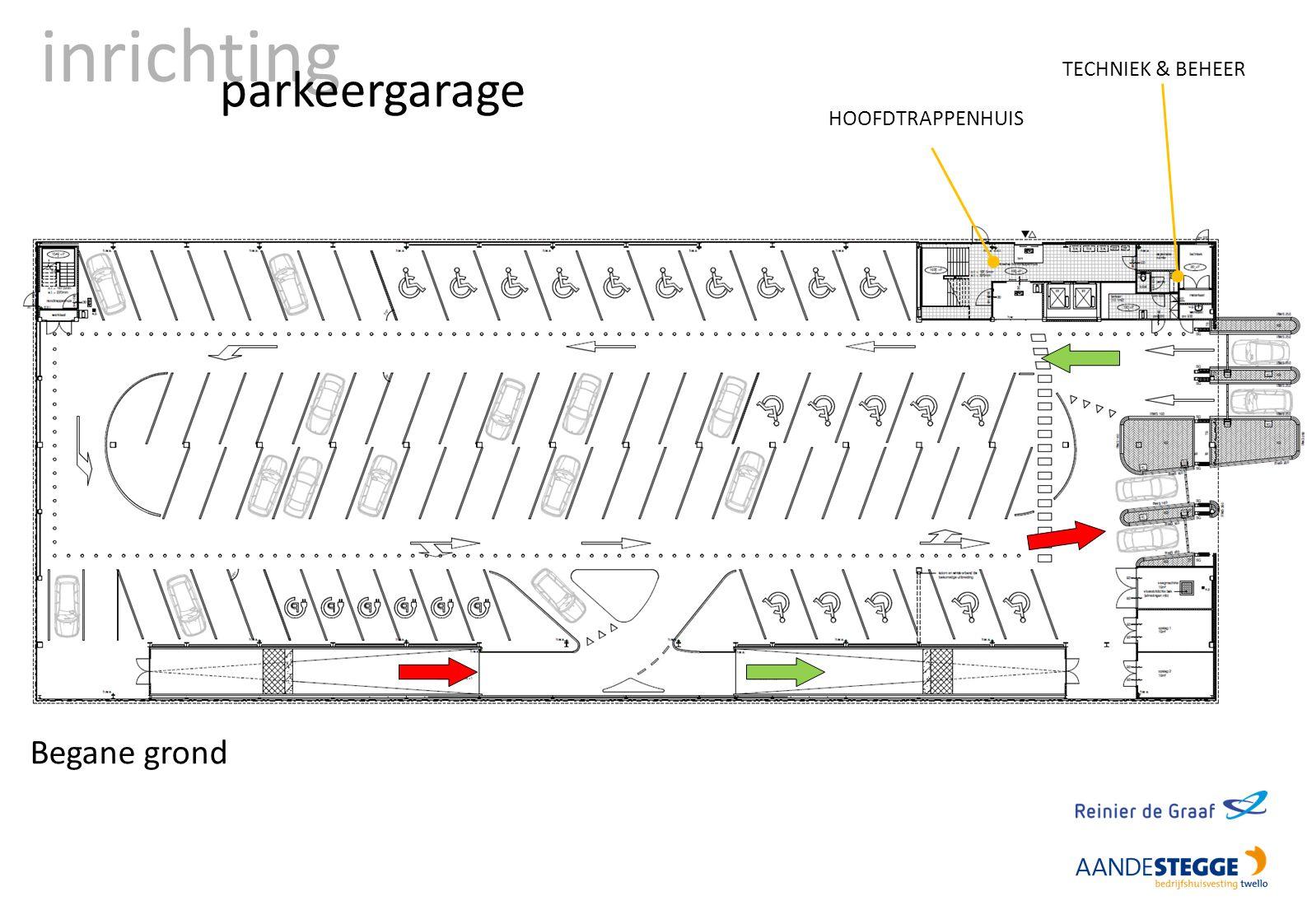 inrichting parkeergarage Begane grond HOOFDTRAPPENHUIS TECHNIEK & BEHEER