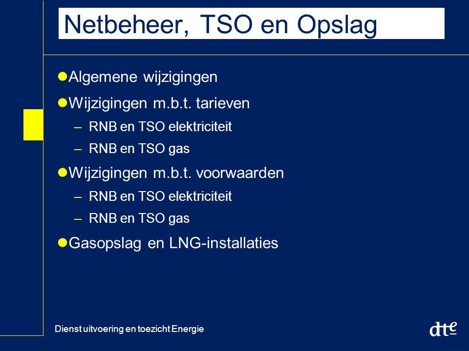 Dienst uitvoering en toezicht Energie Netbeheer, TSO en Opslag Algemene wijzigingen Wijzigingen m.b.t.