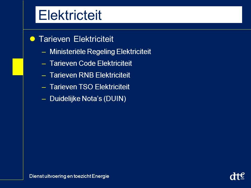 Dienst uitvoering en toezicht Energie Tarieven RNB en TSO Elektricteit Tarieven Elektriciteit –Ministeriële Regeling Elektriciteit –Tarieven Code Elektriciteit –Tarieven RNB Elektriciteit –Tarieven TSO Elektriciteit –Duidelijke Nota's (DUIN)