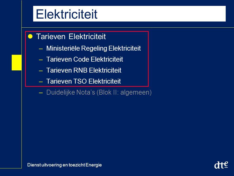 Dienst uitvoering en toezicht Energie Tarieven RNB en TSO Elektriciteit Tarieven Elektriciteit –Ministeriële Regeling Elektriciteit –Tarieven Code Elektriciteit –Tarieven RNB Elektriciteit –Tarieven TSO Elektriciteit –Duidelijke Nota's (Blok II: algemeen)
