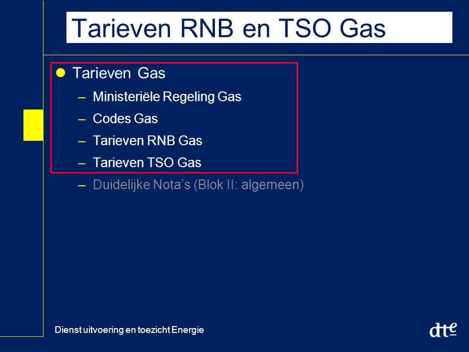 Dienst uitvoering en toezicht Energie Tarieven RNB en TSO Gas Tarieven Gas –Ministeriële Regeling Gas –Codes Gas –Tarieven RNB Gas –Tarieven TSO Gas –Duidelijke Nota's (Blok II: algemeen)