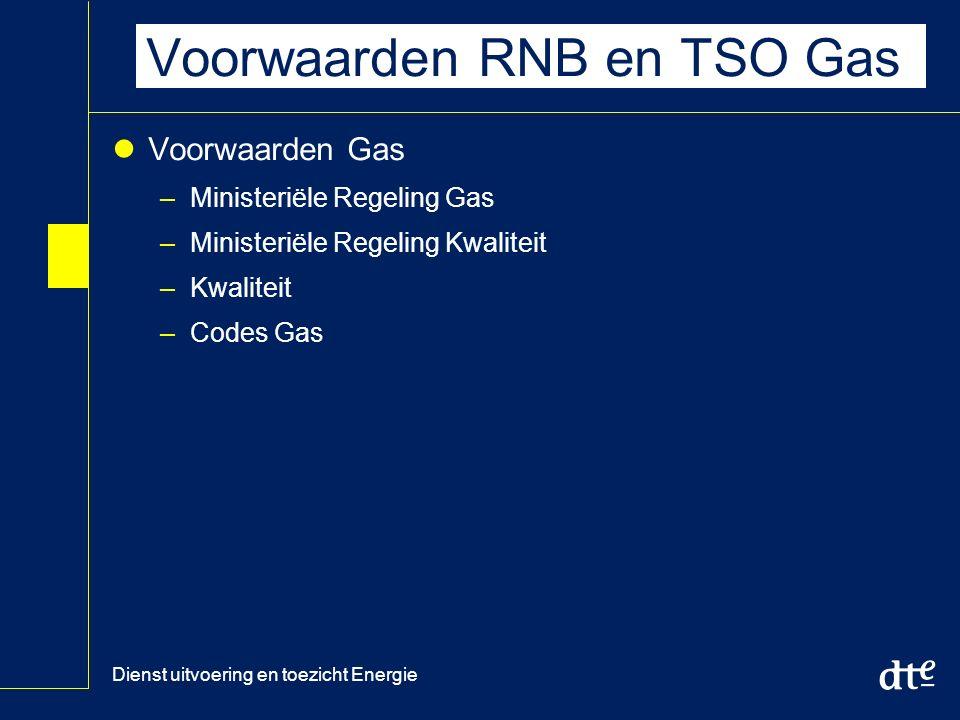 Dienst uitvoering en toezicht Energie Voorwaarden RNB en TSO Gas Voorwaarden Gas –Ministeriële Regeling Gas –Ministeriële Regeling Kwaliteit –Kwaliteit –Codes Gas