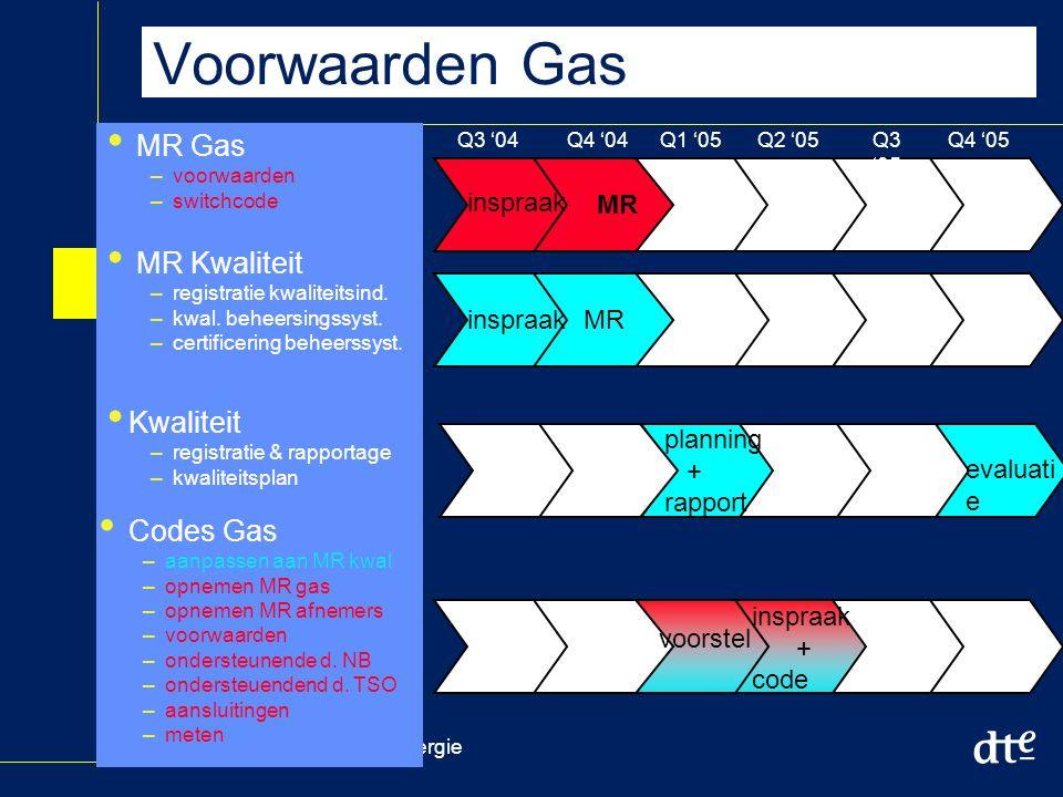 Dienst uitvoering en toezicht Energie Voorwaarden Gas MR Gas –voorwaarden –switchcode MR Kwaliteit –registratie kwaliteitsind.