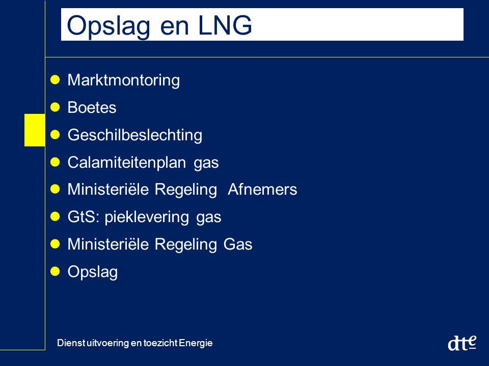 Dienst uitvoering en toezicht Energie Opslag en LNG Marktmontoring Boetes Geschilbeslechting Calamiteitenplan gas Ministeriële Regeling Afnemers GtS: pieklevering gas Ministeriële Regeling Gas Opslag