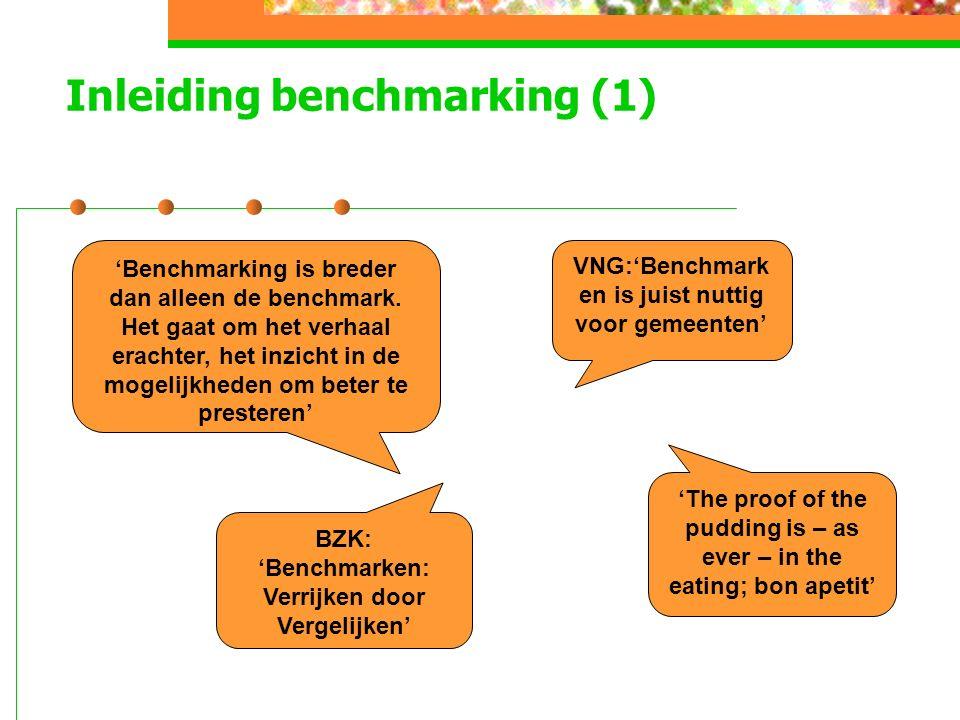 Inleiding benchmarking (1) VNG:'Benchmark en is juist nuttig voor gemeenten' 'Benchmarking is breder dan alleen de benchmark.