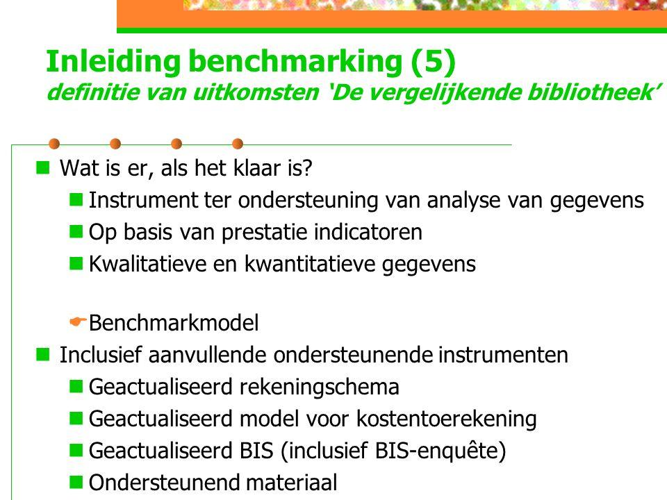 Inleiding benchmarking (5) definitie van uitkomsten 'De vergelijkende bibliotheek' Wat is er, als het klaar is.