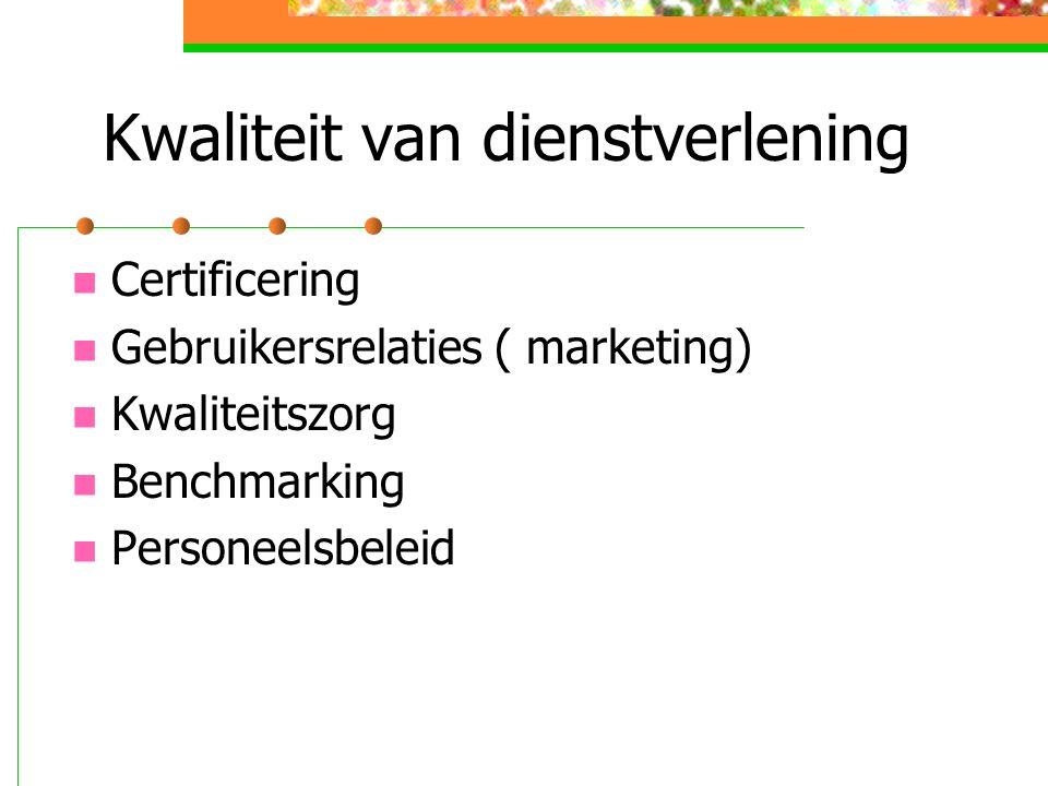 Kwaliteit van dienstverlening Certificering Gebruikersrelaties ( marketing) Kwaliteitszorg Benchmarking Personeelsbeleid