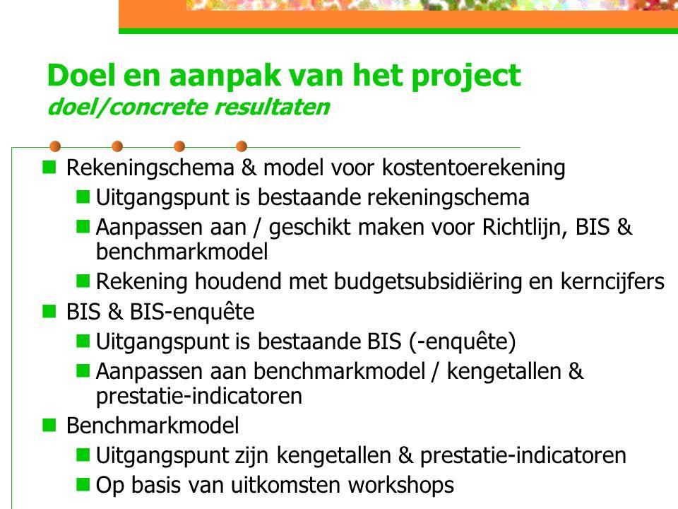 Doel en aanpak van het project doel/concrete resultaten Rekeningschema & model voor kostentoerekening Uitgangspunt is bestaande rekeningschema Aanpassen aan / geschikt maken voor Richtlijn, BIS & benchmarkmodel Rekening houdend met budgetsubsidiëring en kerncijfers BIS & BIS-enquête Uitgangspunt is bestaande BIS (-enquête) Aanpassen aan benchmarkmodel / kengetallen & prestatie-indicatoren Benchmarkmodel Uitgangspunt zijn kengetallen & prestatie-indicatoren Op basis van uitkomsten workshops