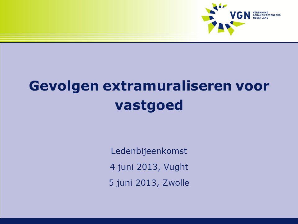 Gevolgen extramuraliseren voor vastgoed Ledenbijeenkomst 4 juni 2013, Vught 5 juni 2013, Zwolle