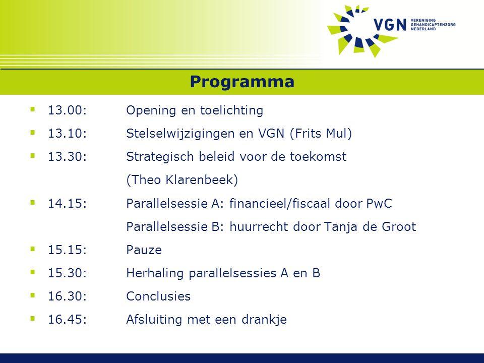 Programma  13.00:Opening en toelichting  13.10:Stelselwijzigingen en VGN (Frits Mul)  13.30:Strategisch beleid voor de toekomst (Theo Klarenbeek) 