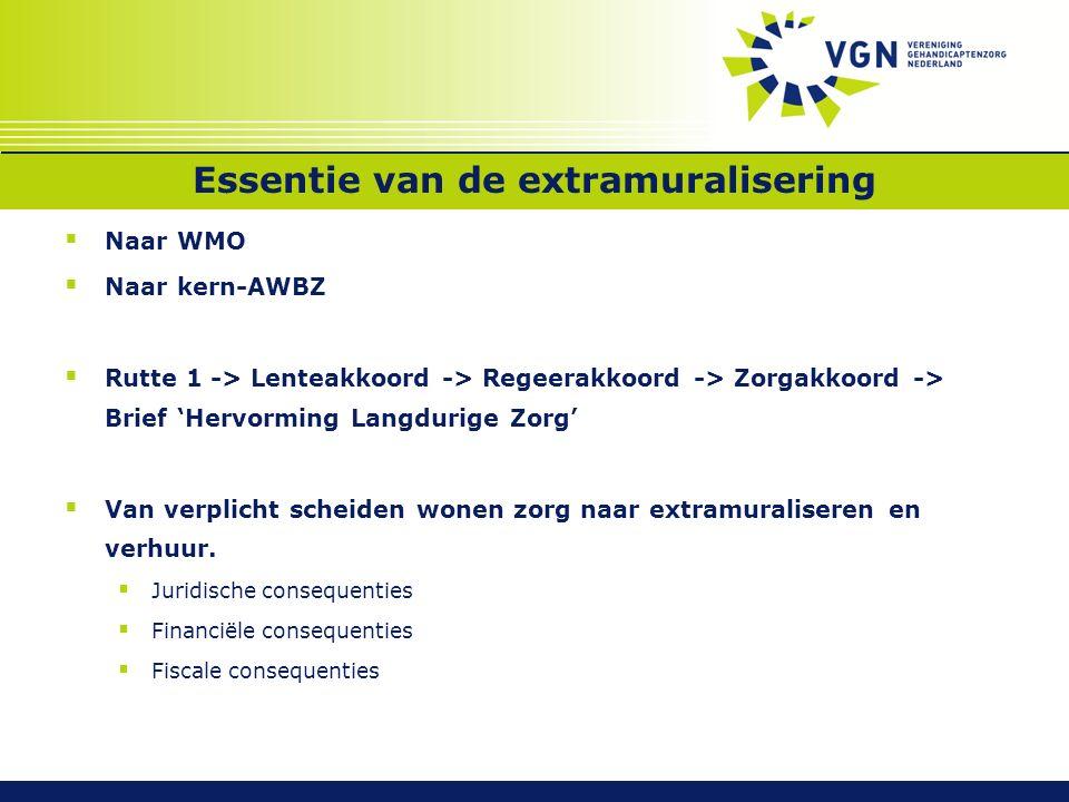 Essentie van de extramuralisering  Naar WMO  Naar kern-AWBZ  Rutte 1 -> Lenteakkoord -> Regeerakkoord -> Zorgakkoord -> Brief 'Hervorming Langdurig