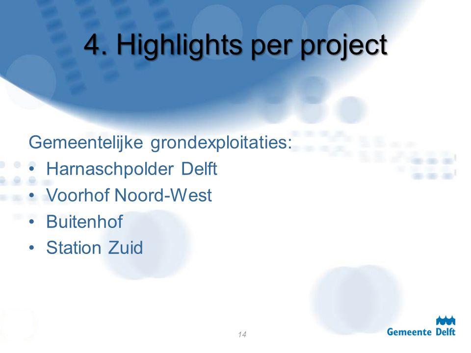 4. Highlights per project Gemeentelijke grondexploitaties: Harnaschpolder Delft Voorhof Noord-West Buitenhof Station Zuid 14