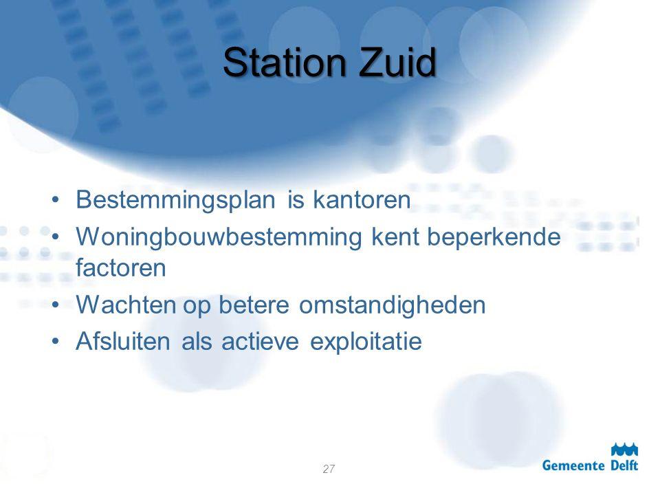 Station Zuid Bestemmingsplan is kantoren Woningbouwbestemming kent beperkende factoren Wachten op betere omstandigheden Afsluiten als actieve exploitatie 27