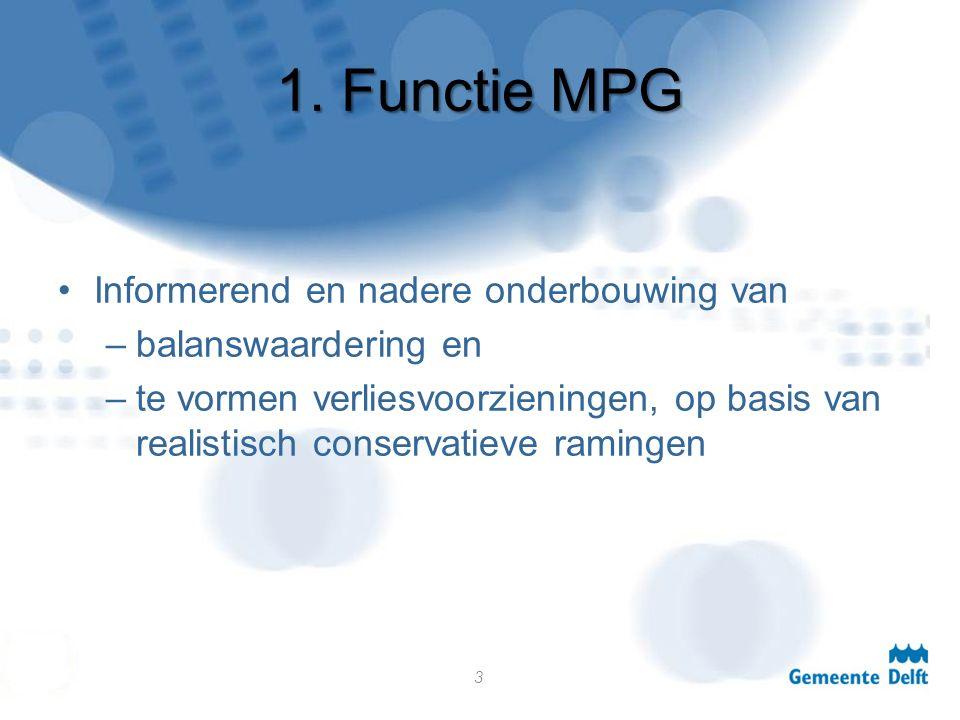 1. Functie MPG Informerend en nadere onderbouwing van –balanswaardering en –te vormen verliesvoorzieningen, op basis van realistisch conservatieve ram
