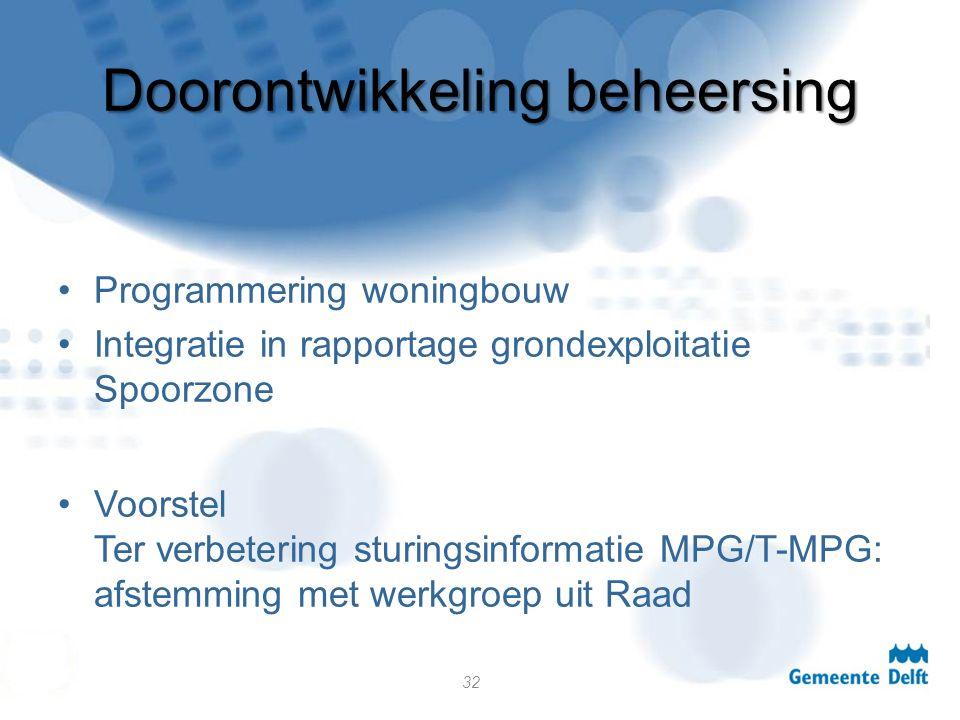 Doorontwikkeling beheersing Programmering woningbouw Integratie in rapportage grondexploitatie Spoorzone Voorstel Ter verbetering sturingsinformatie MPG/T-MPG: afstemming met werkgroep uit Raad 32