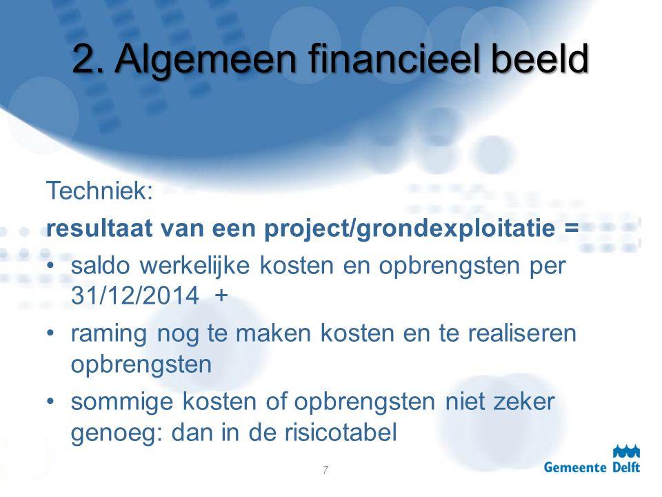 2. Algemeen financieel beeld Techniek: resultaat van een project/grondexploitatie = saldo werkelijke kosten en opbrengsten per 31/12/2014 + raming nog