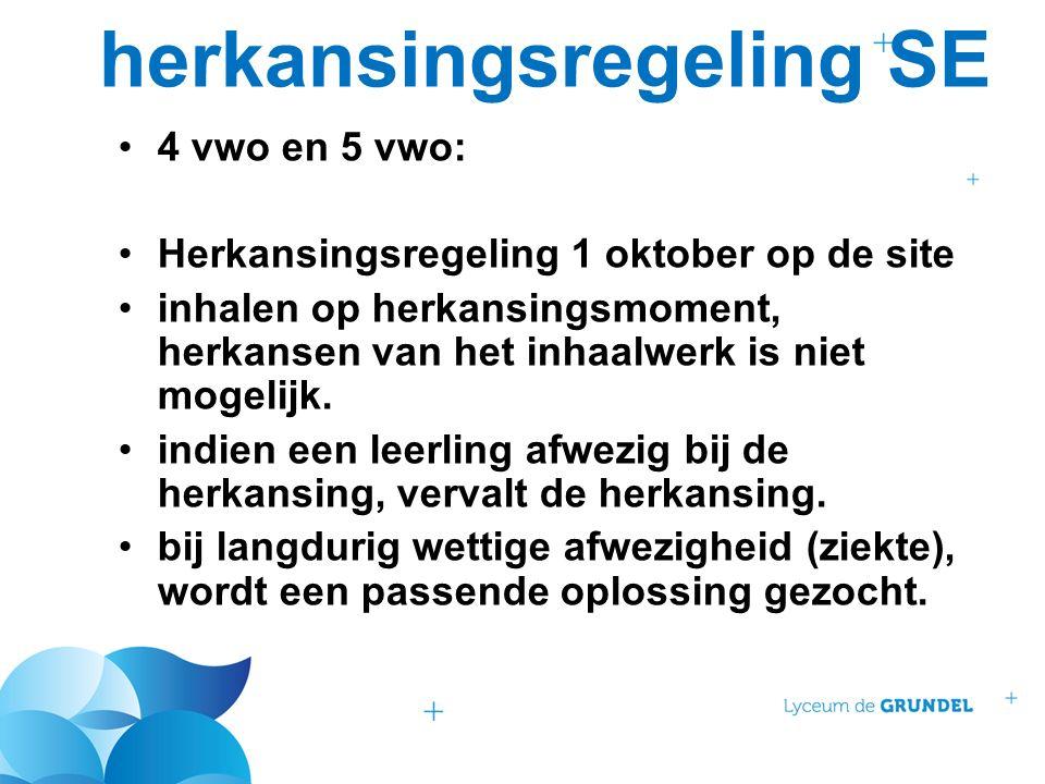 herkansingsregeling SE 4 vwo en 5 vwo: Herkansingsregeling 1 oktober op de site inhalen op herkansingsmoment, herkansen van het inhaalwerk is niet mog