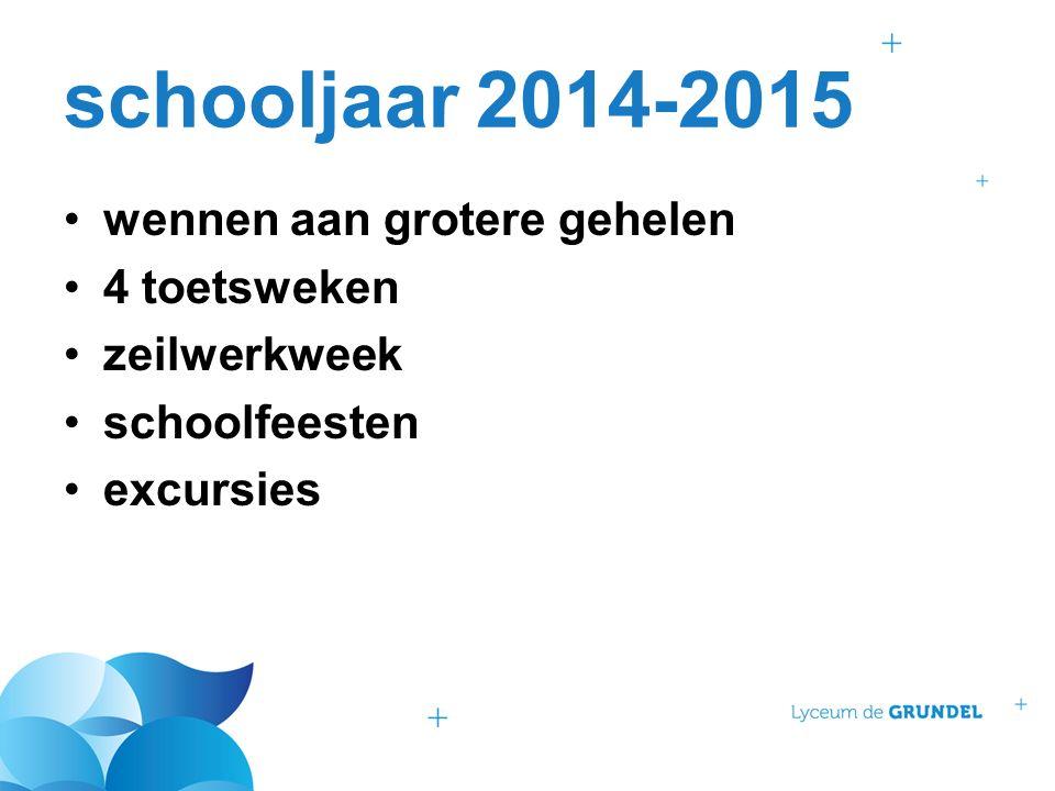 schooljaar 2014-2015 wennen aan grotere gehelen 4 toetsweken zeilwerkweek schoolfeesten excursies