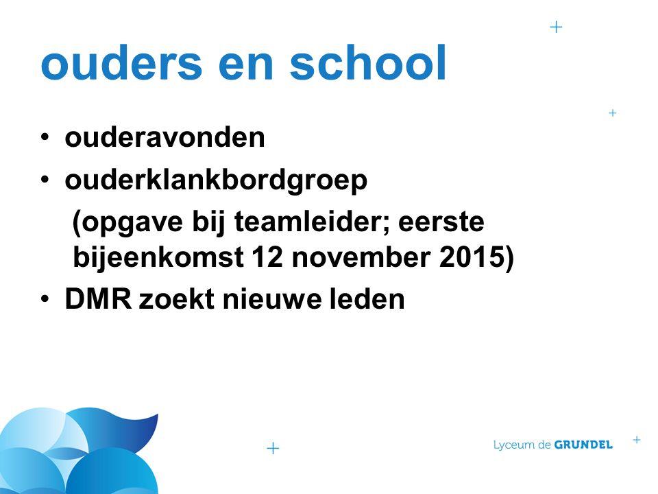 ouders en school ouderavonden ouderklankbordgroep (opgave bij teamleider; eerste bijeenkomst 12 november 2015) DMR zoekt nieuwe leden
