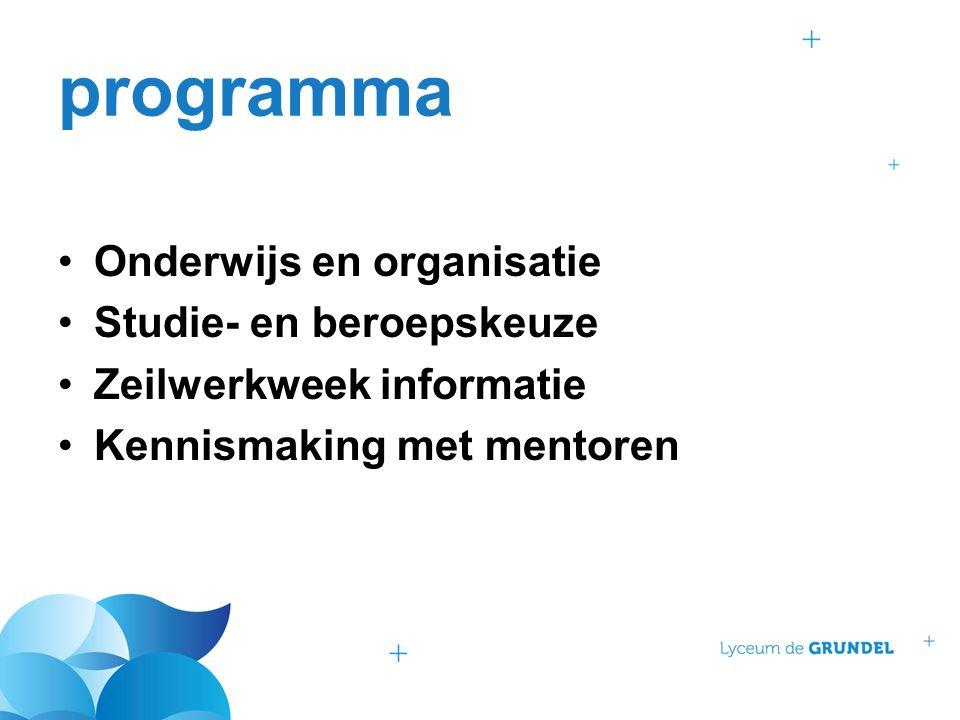 programma Onderwijs en organisatie Studie- en beroepskeuze Zeilwerkweek informatie Kennismaking met mentoren