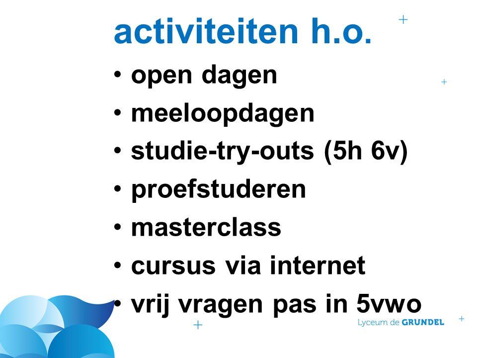 activiteiten h.o. open dagen meeloopdagen studie-try-outs (5h 6v) proefstuderen masterclass cursus via internet vrij vragen pas in 5vwo