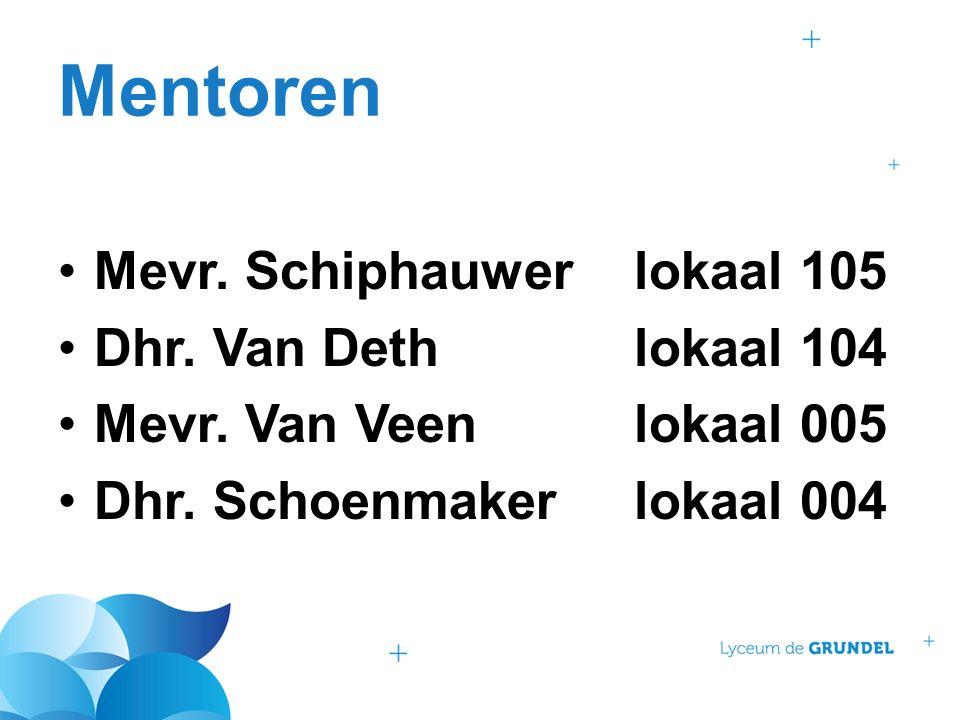 Mentoren Mevr.Schiphauwer lokaal 105 Dhr. Van Dethlokaal 104 Mevr.