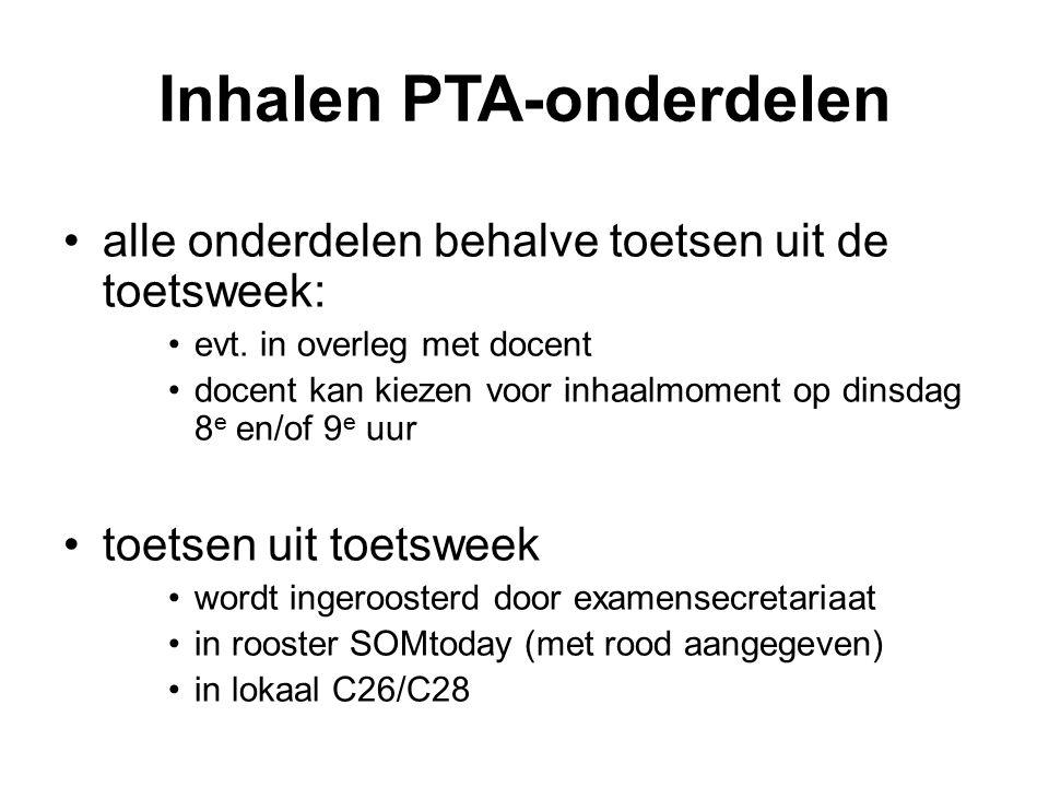 Inhalen PTA-onderdelen alle onderdelen behalve toetsen uit de toetsweek: evt.