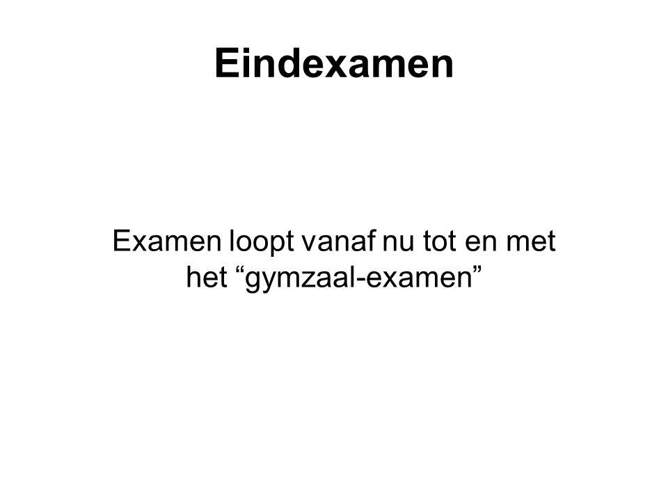 Eindexamen Examen loopt vanaf nu tot en met het gymzaal-examen