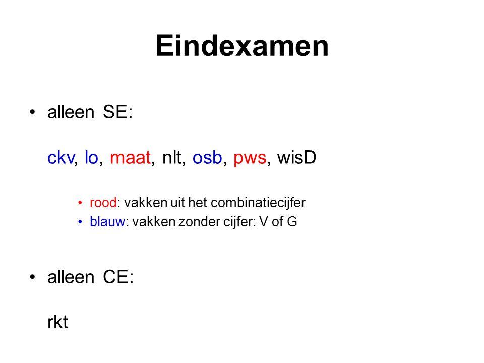 Eindexamen alleen SE: ckv, lo, maat, nlt, osb, pws, wisD rood: vakken uit het combinatiecijfer blauw: vakken zonder cijfer: V of G alleen CE: rkt