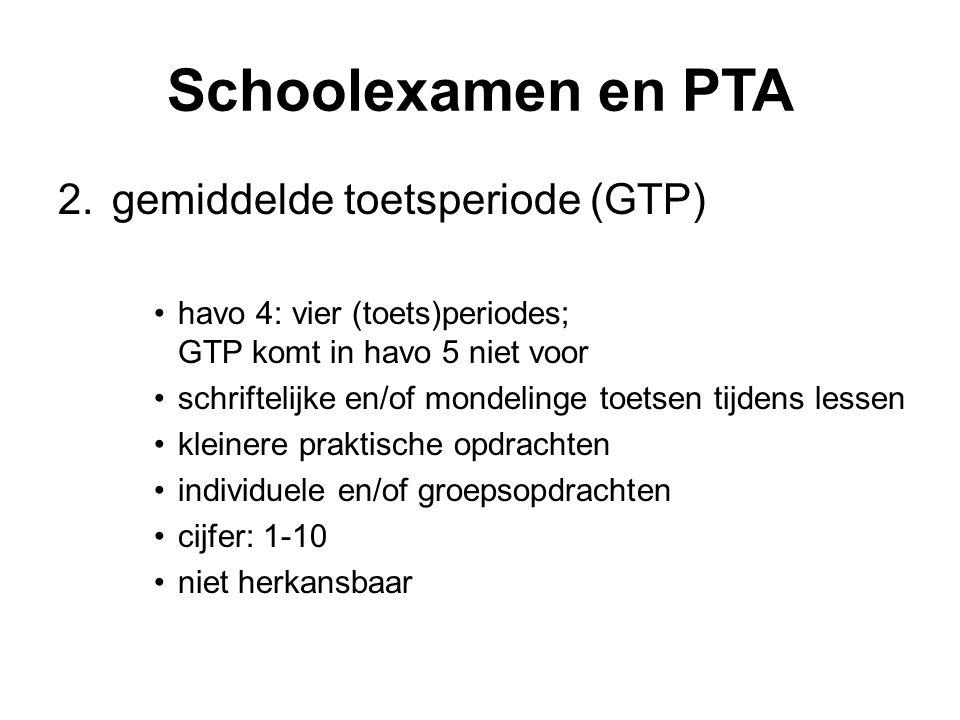 Schoolexamen en PTA 2.gemiddelde toetsperiode (GTP) havo 4: vier (toets)periodes; GTP komt in havo 5 niet voor schriftelijke en/of mondelinge toetsen tijdens lessen kleinere praktische opdrachten individuele en/of groepsopdrachten cijfer: 1-10 niet herkansbaar