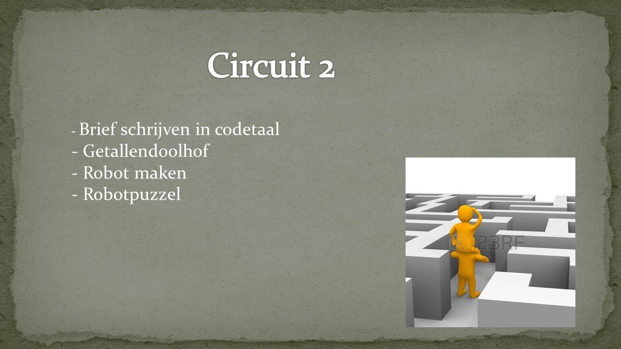 - Brief schrijven in codetaal - Getallendoolhof - Robot maken - Robotpuzzel