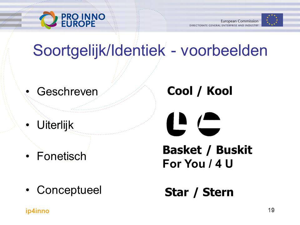 ip4inno 19 Soortgelijk/Identiek - voorbeelden Geschreven Uiterlijk Fonetisch Conceptueel Cool / Kool Basket / Buskit For You / 4 U Star / Stern