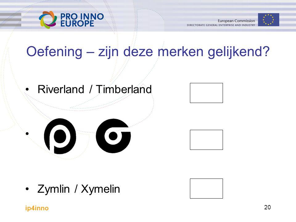 ip4inno 20 Oefening – zijn deze merken gelijkend? Riverland / Timberland Zymlin / Xymelin