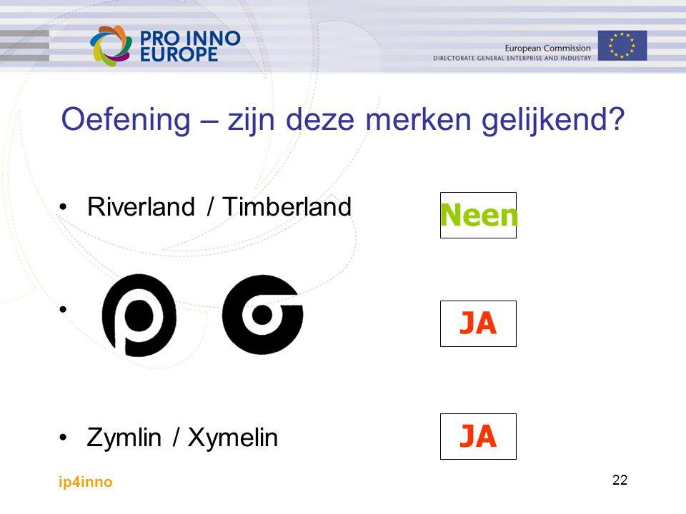 ip4inno 22 Oefening – zijn deze merken gelijkend? Riverland / Timberland Zymlin / Xymelin Neen JA
