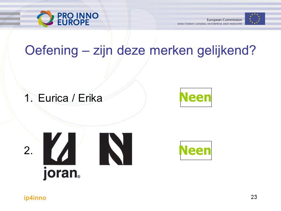 ip4inno 23 1.Eurica / Erika 2. Oefening – zijn deze merken gelijkend? Neen
