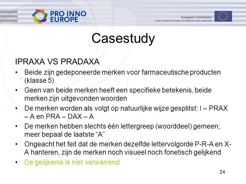 24 Casestudy IPRAXA VS PRADAXA Beide zijn gedeponeerde merken voor farmaceutische producten (klasse 5) Geen van beide merken heeft een specifieke bete