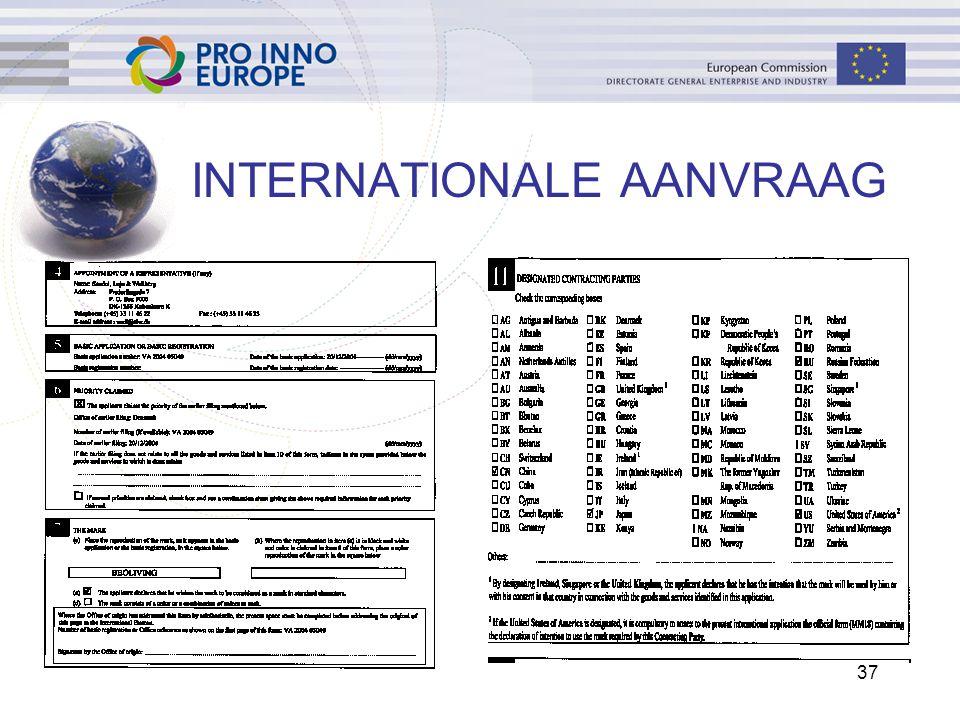 37 INTERNATIONALE AANVRAAG