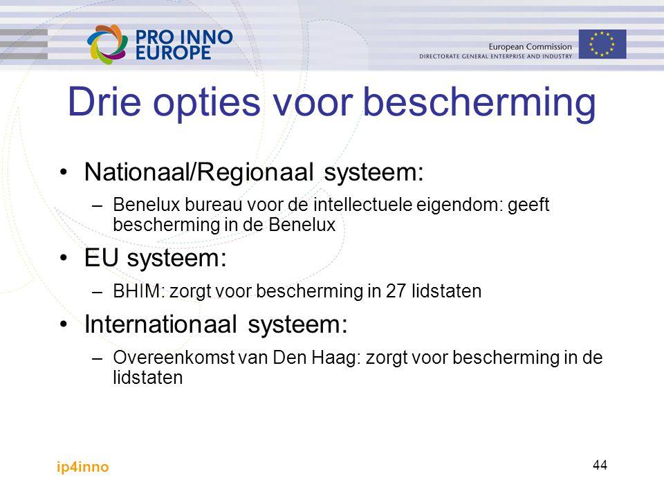 ip4inno 44 Drie opties voor bescherming Nationaal/Regionaal systeem: –Benelux bureau voor de intellectuele eigendom: geeft bescherming in de Benelux EU systeem: –BHIM: zorgt voor bescherming in 27 lidstaten Internationaal systeem: –Overeenkomst van Den Haag: zorgt voor bescherming in de lidstaten